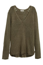 Loose-knit jumper - Khaki green - Ladies | H&M CA 2