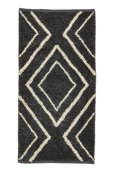 Jacquard-weave wool-blend rug - Anthracite grey/White - Home All | H&M IE 1