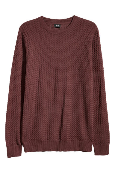 Textured-knit jumper - Burgundy -  | H&M