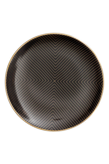 Patterned porcelain plate - Black - Home All | H&M GB