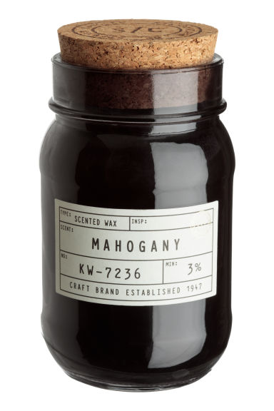 Scented Candle in Glass Jar - Black/Mahogany - Home All | H&M CA 1