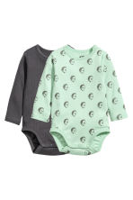 2-pack long-sleeved bodysuits - Dark grey/Light green - Kids | H&M CN 1