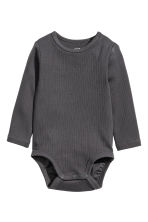 2-pack long-sleeved bodysuits - Dark grey/Light green - Kids | H&M CN 2
