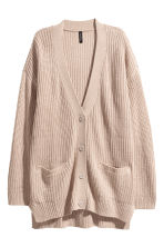 Rib-knit cardigan - Light beige - Ladies | H&M 2