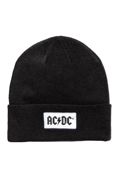 Fine-knit hat - Black/AC/DC - Ladies | H&M 1