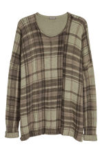 Ribbed jumper - Khaki green/Checked - Men | H&M 2