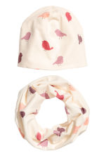 Hat and tube scarf - Natural white/Birds -  | H&M 1