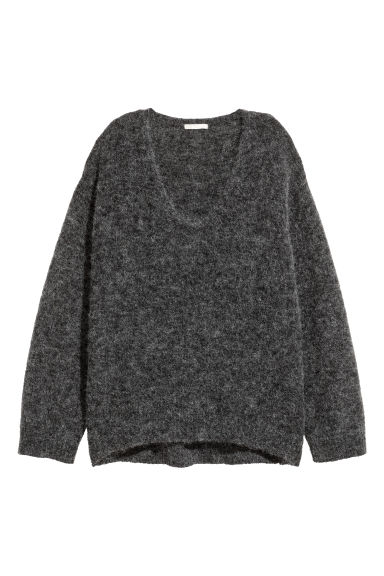 Mohair-blend jumper - Dark grey marl - Ladies | H&M CN