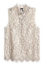 Sleeveless lace blouse - Light beige - Ladies | H&M 2