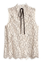 Sleeveless lace blouse - Light beige - Ladies | H&M 3