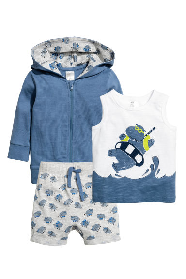3-part cotton set - Blue -  | H&M CA 1