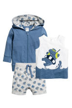 3-part cotton set - Blue - Kids | H&M 1