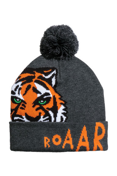 Fine-knit hat - Dark grey marl/Tiger - Kids | H&M CN 1