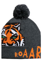 Fine-knit hat - Dark grey marl/Tiger - Kids | H&M CN 3