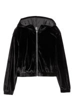 Velour sports jacket - Black - Ladies | H&M 2