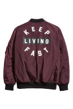Printed bomber jacket - Burgundy -  | H&M 3