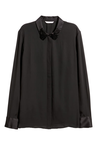 Shirt with appliqués - Black - Ladies | H&M