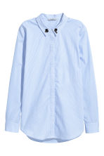 Shirt with appliqués - Light blue/White striped - Ladies | H&M CN 2