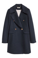 Double-breasted wool-mix coat - Dark blue - Ladies | H&M 2