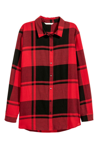 Checked cotton shirt - Red/Black checked - Ladies | H&M CN