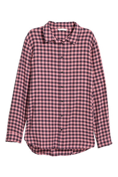 Checked cotton shirt - Pink/Black checked - Ladies | H&M IE