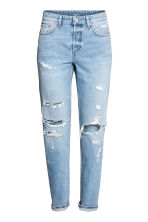 Boyfriend Low Ripped Jeans - Светло-голубой деним/Trashed - Женщины | H&M RU 2