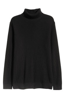 Textured-knit polo-neck
