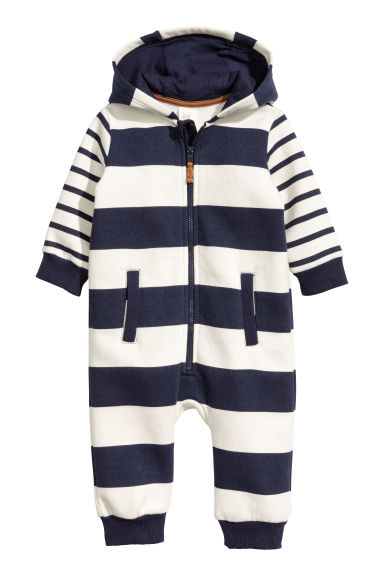 Hooded all-in-one suit - Natural white/Blue striped - Kids | H&M CN