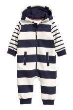 Hooded all-in-one suit - Natural white/Blue striped -  | H&M CN 1