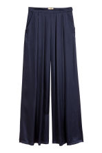 Wide satin trousers - Dark blue - Ladies | H&M CN 2