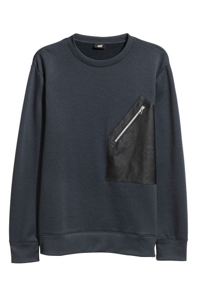 Sweatshirt with a pocket - Dark blue -  | H&M