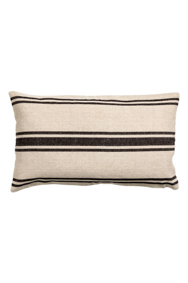 Linen-blend cushion cover - Natural white/Striped - Home All | H&M IE