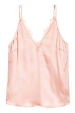 Satin top - Powder pink - Ladies | H&M CN 2
