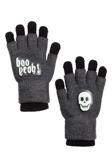 Gloves/fingerless gloves - Dark grey/Skull -  | H&M CN 1