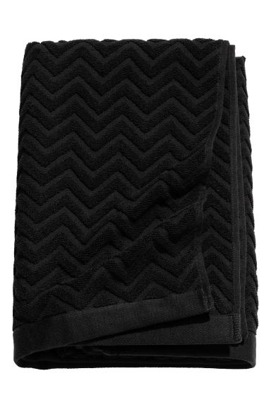 Jacquard-patterned bath towel - Black - Home All | H&M CN 1