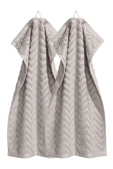 2-pack guest towels - Light grey -  | H&M GB