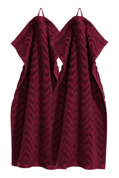 Asciugamani ospite, 2 pz - Bordeaux - HOME | H&M IT 1