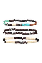 3-pack elasticated bracelets - Dark brown/Blue - Men | H&M 2