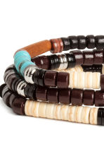 3-pack elasticated bracelets - Dark brown/Blue - Men | H&M 3