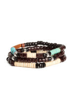 3-pack elasticated bracelets - Dark brown/Blue - Men | H&M 1
