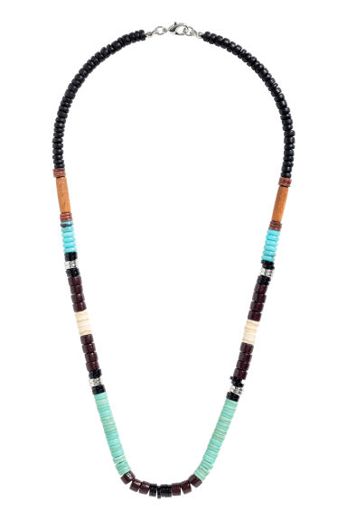 Beaded necklace - Dark brown/Blue - Men | H&M CN 1