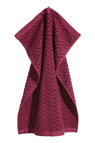 Jacquard-patterned towel - 酒红色 - Home All | H&M CN 1