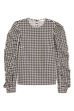 Blouse with studs - White/Black checked - Ladies | H&M IE 2