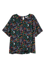 Crêpe top - Black/Floral - Ladies | H&M 2
