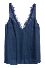 Top in satin con pizzo - Blu scuro - DONNA | H&M IT 2