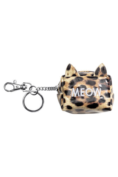 Mini pouch with a key chain - Leopard print/Meow -  | H&M 1