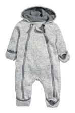 Knitted fleece all-in-one suit - Light grey marl - Kids | H&M CN 2