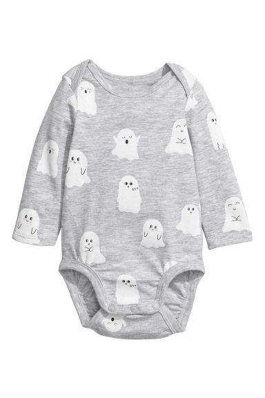 Cotton bodysuit and trousers - Light grey/Ghosts -  | H&M 1