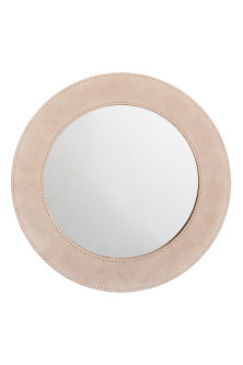 Round mirror in suede