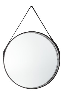 Round leather strap mirror